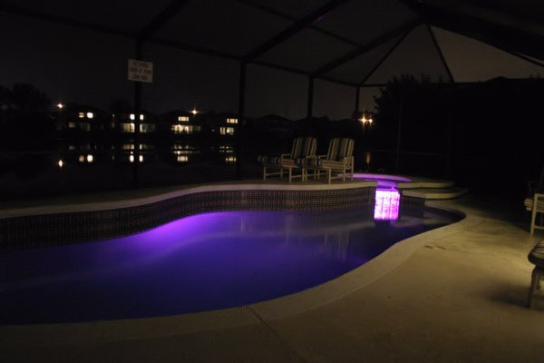 Pool & Spa with coloured lighting
